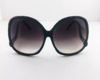 Crystalized crystal rhinestone diamond bling beauty black sunglasses