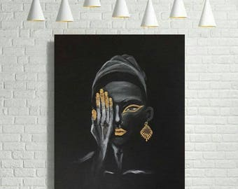 Painting Art on Canvas african woman gold on black canvas handmade painting by Esti Levi