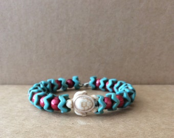 Tri-Colored Pearl and Turquoise Turtle Bracelet