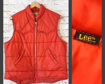 Vintage Lee Storm Rider Winter Zip Puffer Puffy Vest - Large