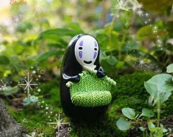1pcs Spirited Away Characters  Non-Face Men Knit a Sweater, Fairy Garden Supplies Succulent Terraium DIY Accessories