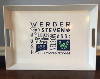 Subway Art Personalized Tray Mother's Day Gift Customized with Kids Names, Grandkids Names, Special Memories, Address