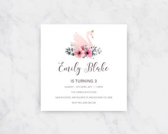 Princess Swan Birthday Invitation | Girls Birthday | Printable Invitations