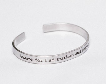 Beware For I Am Fearless And Therefore Powerful / Literary Jewelry / Frankenstein Jewelry / Book Lover's Jewelry / Inspirational Jewelry