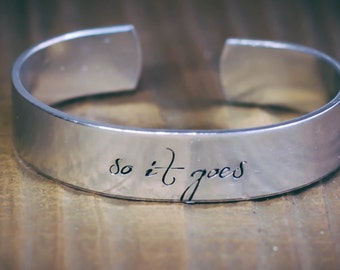 So It Goes / Literary Jewelry / Kurt Vonnegut Jewelry / Slaughterhouse Five Jewelry / Book Lovers Bracelet / Literary Bracelet