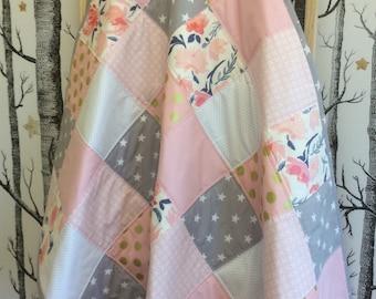 Baby Girl  Pink Gold Grey Patchwork Quilt, Cot Quilt, Toddler Quilt