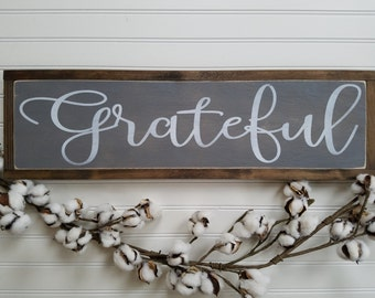 Grateful Sign - Grateful Wood Sign - Wood Signs - Wooden Signs - Farmhouse Style - Entryway Decor - Rustic Signs