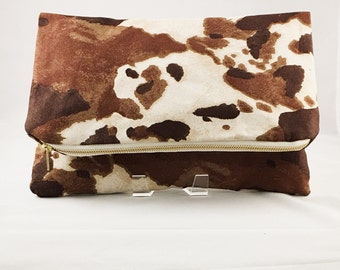 Clutch Bag Cow Print Fabric Bovine Fine