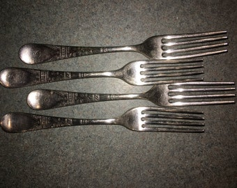 "Vintage Rogers Bros. Silverplate Forks With Initial ""D"""