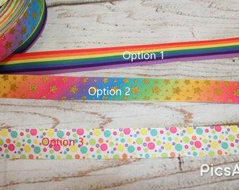 Rainbow Dots  Grosgrain Ribbon - RAinbow sparkly Ribbon -   Grosgrain Ribbon -  Grosgrain Ribbon Rainbow