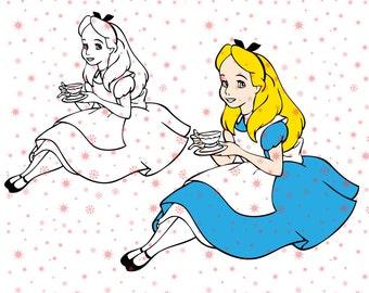 Disney princess Alice in wonderland SVG cutting ESP vector instant download