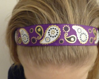 Non-slip Adjustable Headband Paisley purple gold and black