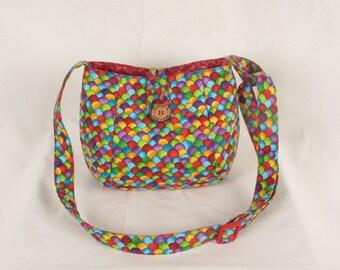 Handmade Fabric Multi Scallop Crossbody Bag