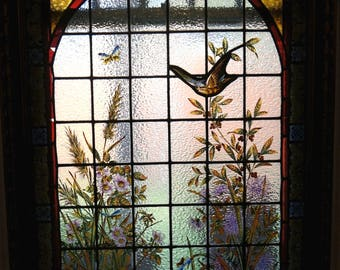 REDUCED Fine Lrg Antique French Art Nouveau Leaded Stain Glass ,Masterfully Hand Painted Butterflies,Florals of Gold Lavender an Blues