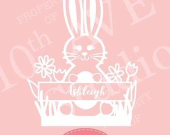 Bunny SVG Monogram Name Frame EPS/DXF/png files for cut machines (vinyl, paper, stencil)