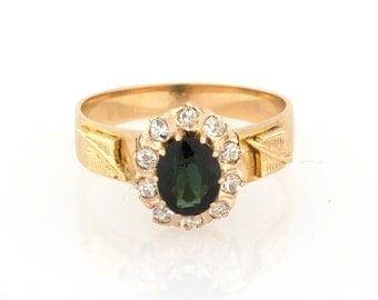 Vintage 18K Yellow Gold Sparkling Diamonds & Green Tourmaline Ladies Ring Band