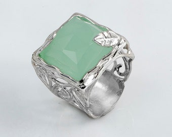 Jade Silver Statement Ring