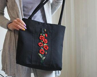 Black red bag Gift idea for women Black handles bag Poppy bag Ribbons red flowers OOAK handmade bag Embroidered handbag Red poppy flowers