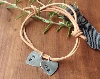 Tan Leather Boho Bracelet, Personalised Hand Stamped Bracelet, Adjustable Leather Bracelet, Gift For Best Friend,