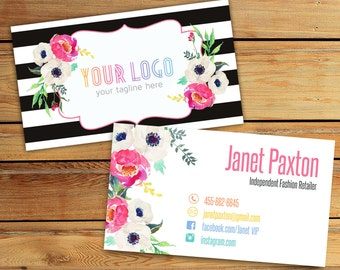 Lularoe Business Cards , Fashion Retailer Card, Home Office Approved Fonts and Colors, 1-3 business days , White Flowers