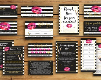 Lipsense Business Card - LipSense Bundle Pack - SeneGence International, LipSense Marketing KIT , Distributor Lipsense, Gold Lips -You Print
