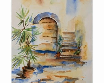 """Watercolor painting, """"Farm in Toscana"""", with Passepartout 40 x 50 cm, original"""