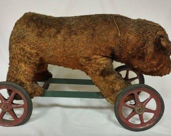"Antique Stieff? Bear on Wheels 21"" Long 12"" High Mohair Fur & Straw Stuffing"