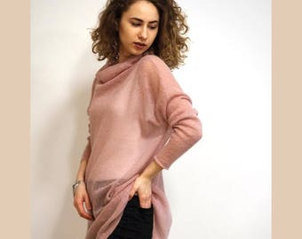 mohair sweater, pink sweater, knit loose, mohair cardigan, long cardigan, long sweater, womens sweaters, womens cardigan, womens gift