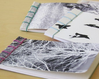 Blank notebook, photography, angel, birds, trees, notebook, hand-sewn, handmade, artist's book, stab binding, recycled paper