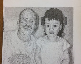Commissioned Portrait Drawings // portraits // family // picture // memories // childhood // related // art // black and white // ink