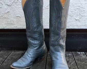 Vintage Ladies Size 9 Nocona Texas Grey Cowboy Boots