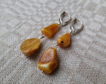 Genuine Baltic Amber Butterscotch Earrings 925 Sterling Silver (0015)