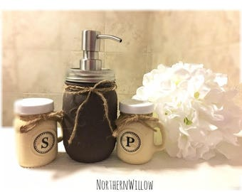 Mason Jar Soap Dispenser, Mason Jar Kitchen Decor, Salt and Pepper Shakers, Kitchen Decor, Rustic Kitchen Decor, Rustic Kitchen
