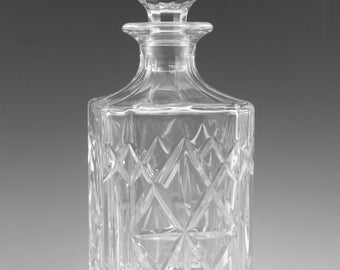 "EDINBURGH Crystal - BERKELEY Cut - Square Whisky Decanter - 10"""