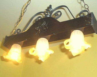 Rustic chandelier wood and wrought iron 68 cm