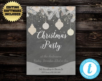 Vintage Christmas Party invitation template - Holiday party invite - Instant Download Printable Invitation - Chalkboard Holiday Invitation