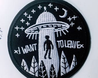 Aj/i want to leave/space/black n white/free shipping iron on patch /embroidery appliqué/stitch work