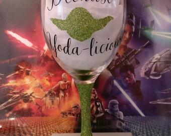 Star Wars Valentine's Day Glass - Yoda Theme