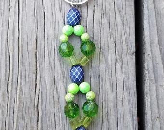 Beaded Keychain/ Green/ Light Green