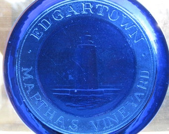 Edgartown Martha's Marthas' Marthas Martha Vineyard Lighthouse Suncatcher Ornament of Pressed Cobalt Glass
