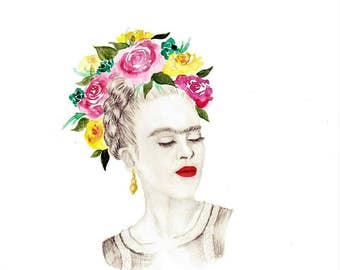 LIMITED EDITION Frida Kahlo PRINT | water colour and pencil, floral crown, succulents