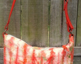 Handmade Waxed Canvas Cross-body purse, individually made strapped handbag, one-of-a-kind bag, Made in the USA, wax and leather bag.