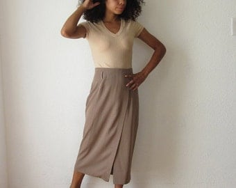 SALE Mid length taupe skirt, high waisted pencil skirt