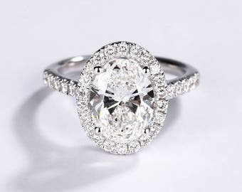 Vintage engagement ring Moissanite Engagement Ring Wedding Women Antique Diamond Bridal Half Eternity Oval Solid gold Promise Anniversary
