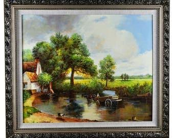 "Large Original Hand Painted Landscape Art, Interpretation: ""The Hay Wain"" by John Constable"