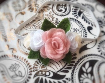 Baby headband, flower headband, felt flower headband, felt crown headband, pink felt flower, baby flower headband
