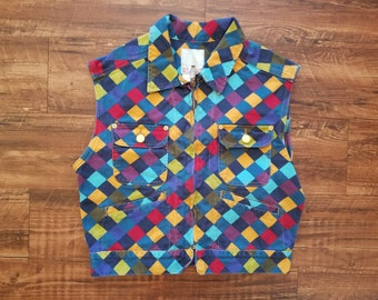 Vintage Esprit Color Block / Geometric Vest