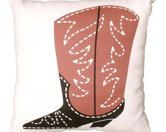 Cowboy Boot Linen Pillow