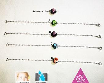Bracelet Murano 10 mm glass with titanium chain Beads Bracelet