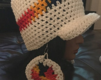 Hat and Infinity Scarf set w/earrings